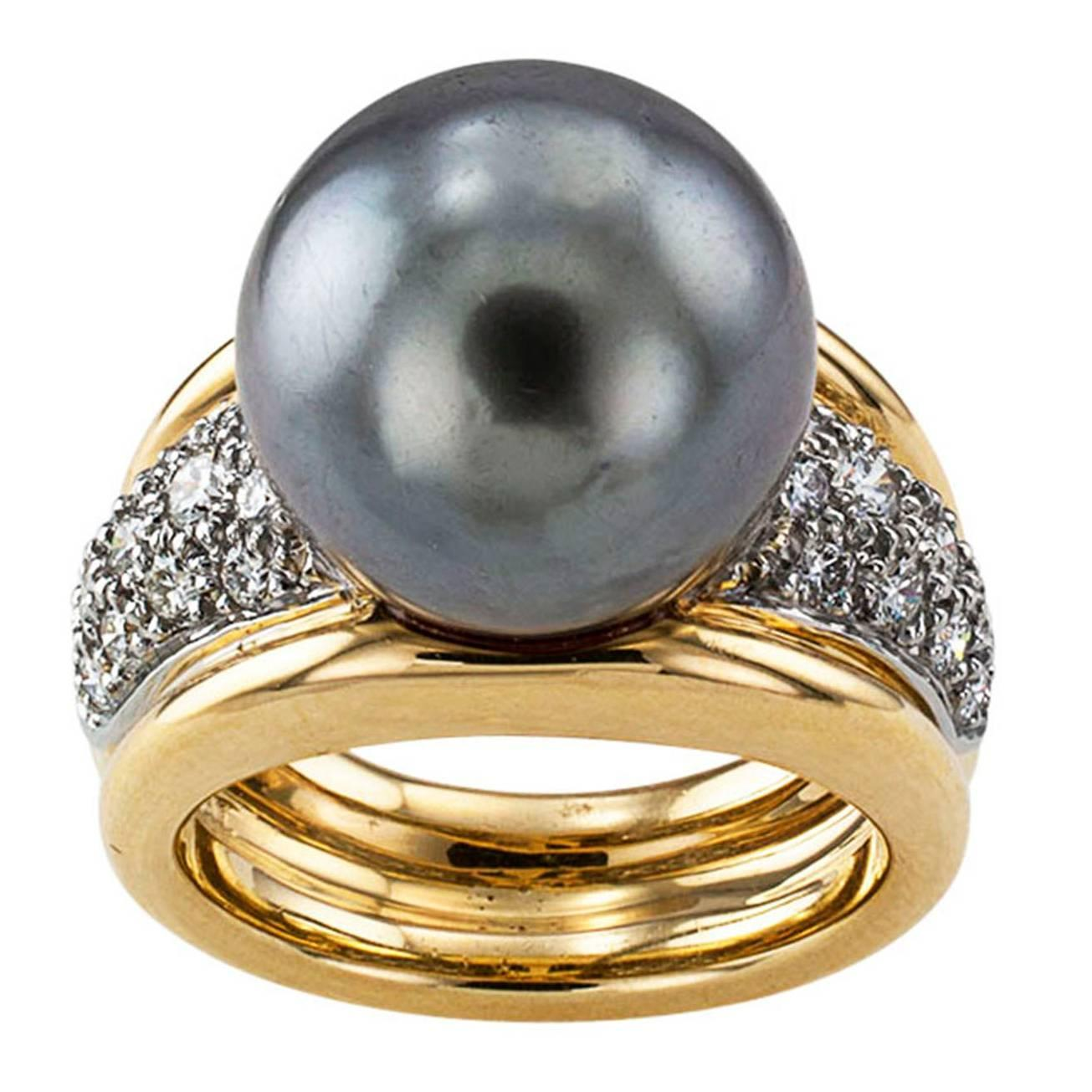 tahitian cultured pearl gold ring for sale at 1stdibs