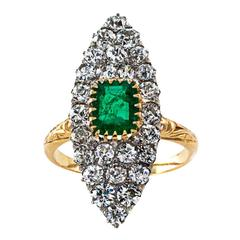Edwardian Emerald Diamond Gold Platinum Ring