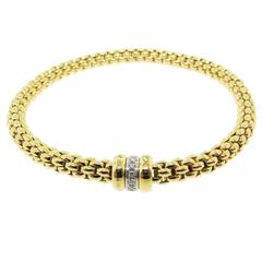 Fope Flexible Gold Bracelet with Diamond Accent