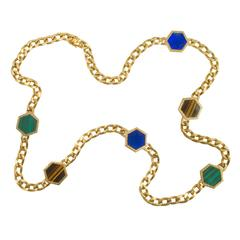 Bulgari Lapis Malachite Tiger's Eye Gold Link Neckchain
