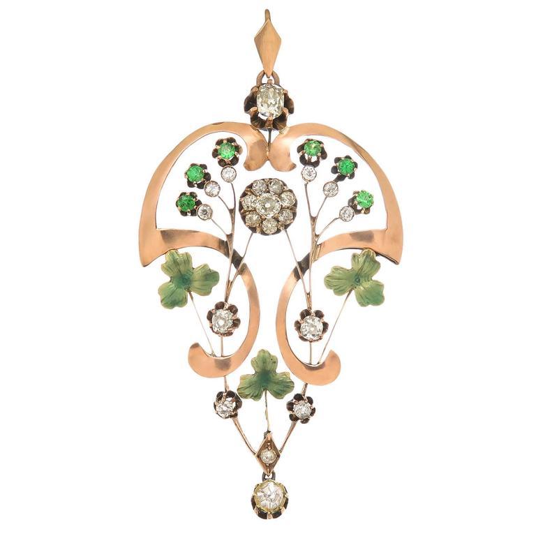 Russian Demantoid Garnet Diamond Gold Pendant