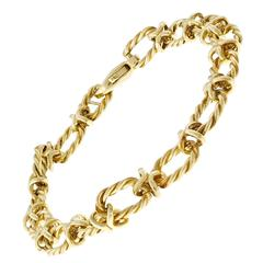 Tiffany & Co. Oval Twisted Cable Link Gold Bracelet