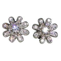 Small Diamond Platinum Flower Earrings