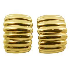 1980s Gold Clip On Half Hoop Earrings