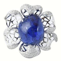 Modern Large Tanzanite Diamond Gold Flower Statement Ring