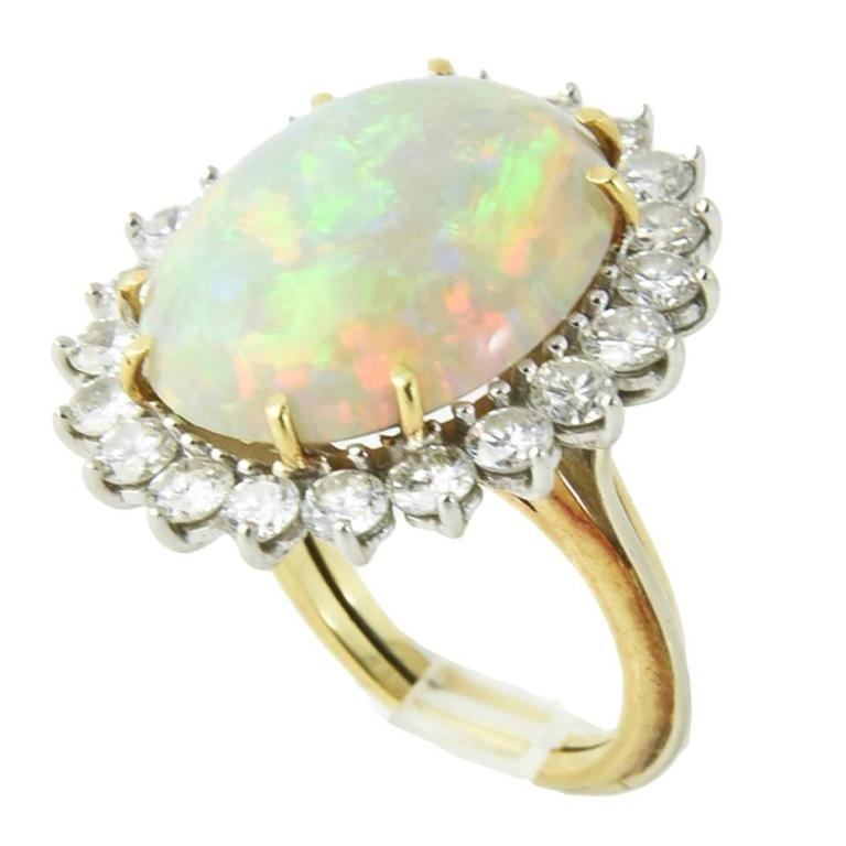 Fine Gray Crystal Harlequin Australian Opal Diamond Two Color Gold Ring
