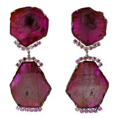 Awesome Ruby Diamond Gold Earrings