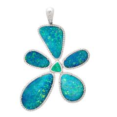 Floating Islands Collection Opal Paraiba Tourmaline Diamond Gold Flower Pendant