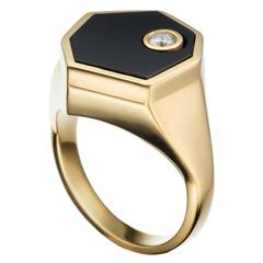 Hannah Martin London Onyx Diamond Gold Signet Facet Ring