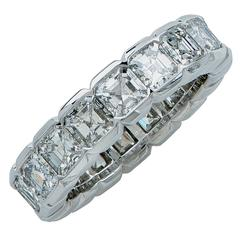 Elegant 3.74 Carat Asscher Cut Diamond Eternity Wedding Band