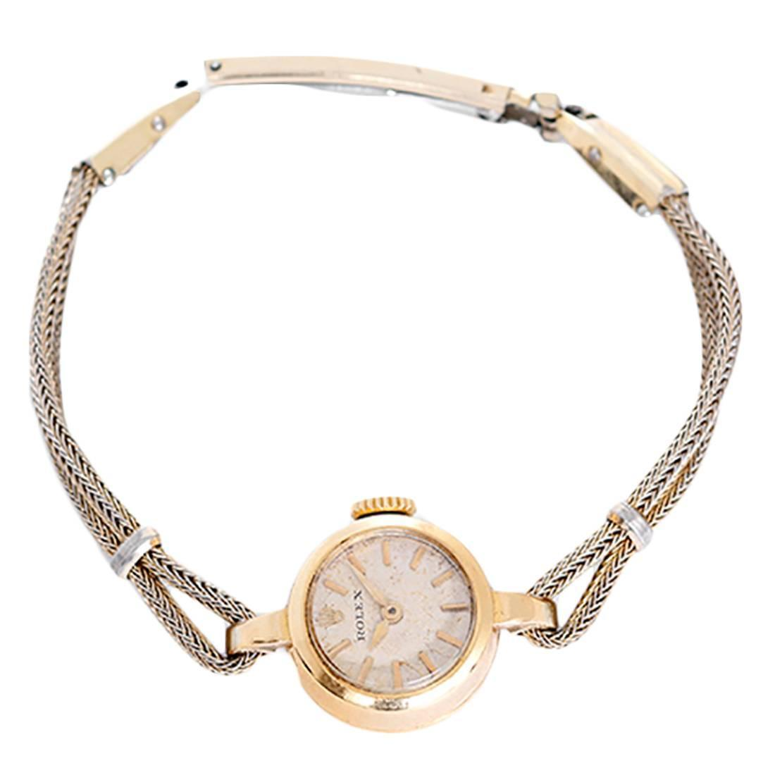 Rolex Lady S Yellow Gold Rope Style Bracelet Wristwatch At