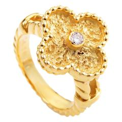 Van Cleef & Arpels Alhambra Diamond Yellow Gold Ring