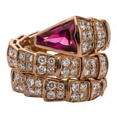 Bulgari Rubellite Diamond Gold Serpenti Ring