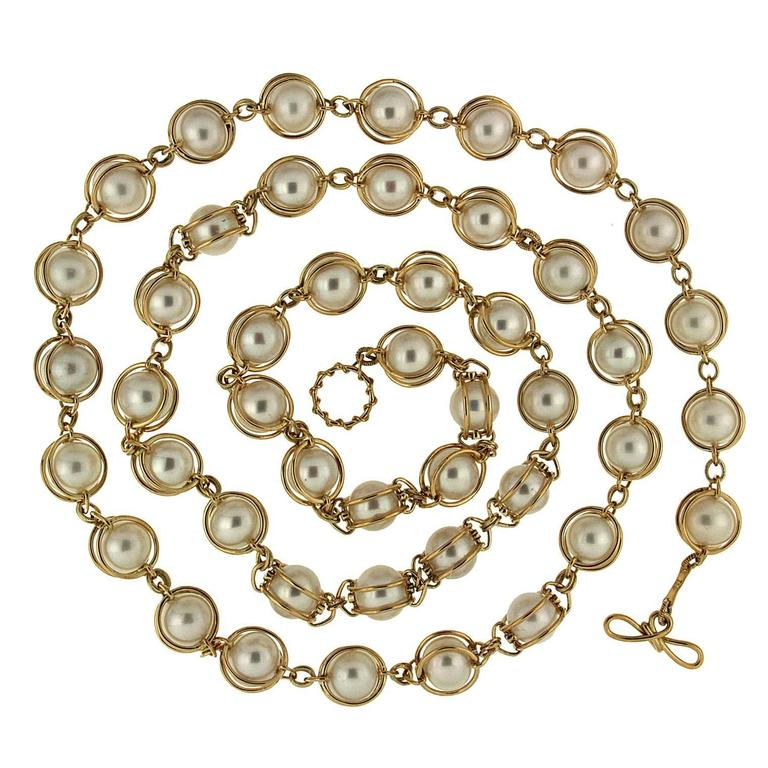 Doppio Smooth Pearls Necklace For Sale