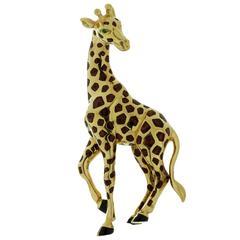 Cartier Enamel Emerald Gold Giraffe Brooch