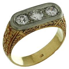 1940s Hand-Made Diamond Filigree Gold Men's Ring