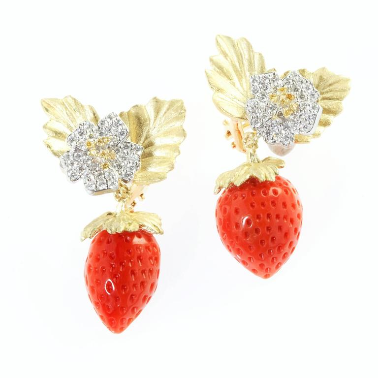 Stambolian Strawberry Coral Diamond Gold Earrings