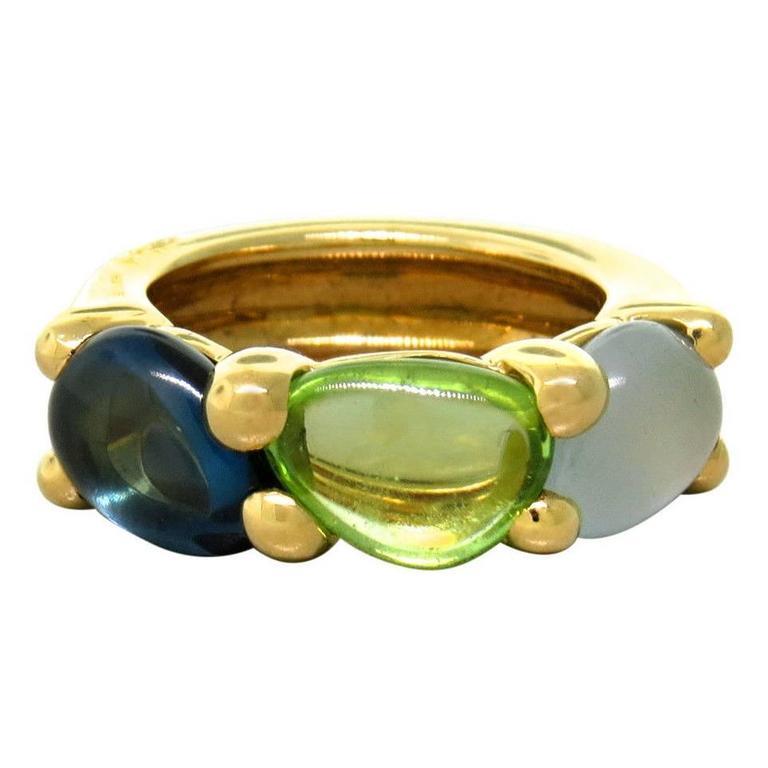 Pomellato Sassi Aquamarine Peridot Topaz Gold Ring