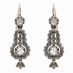 Georgian, circa 1820 Cartouche Shaped Diamond Earrings