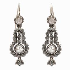 Georgian, circa 1820 Cartouche Shaped Diamond Earrings