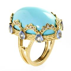 Stambolian Persian Turquoise Blue Sapphire Gold Ring