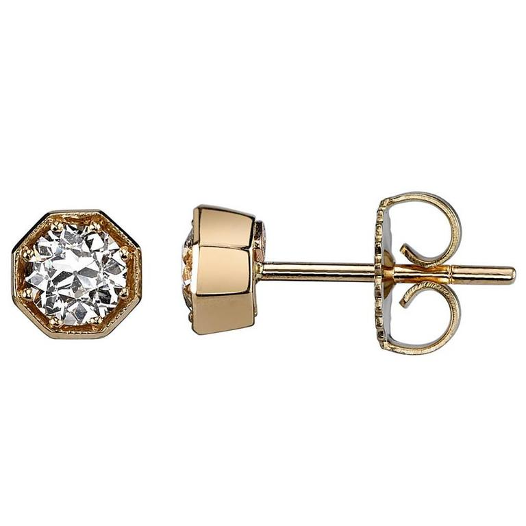 Octagonal Diamond Gold Stud Earrings