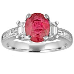 Certified No Heat 2.01 Carat Oval Ruby Diamond Gold Ring