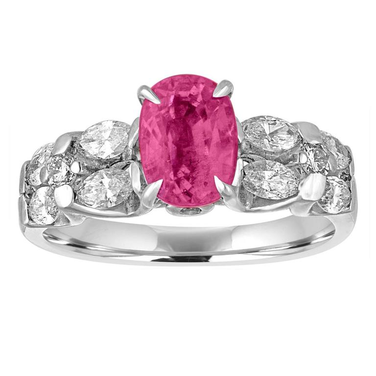 Certified 2.09 Carat Oval Pink Sapphire Diamond Platinum Ring