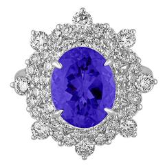 5.58 Carats Oval Tanzanite Diamond Cocktail Gold Ring