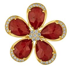 Doublet Ruby Rock Crystal Diamond Gold Flower Ring