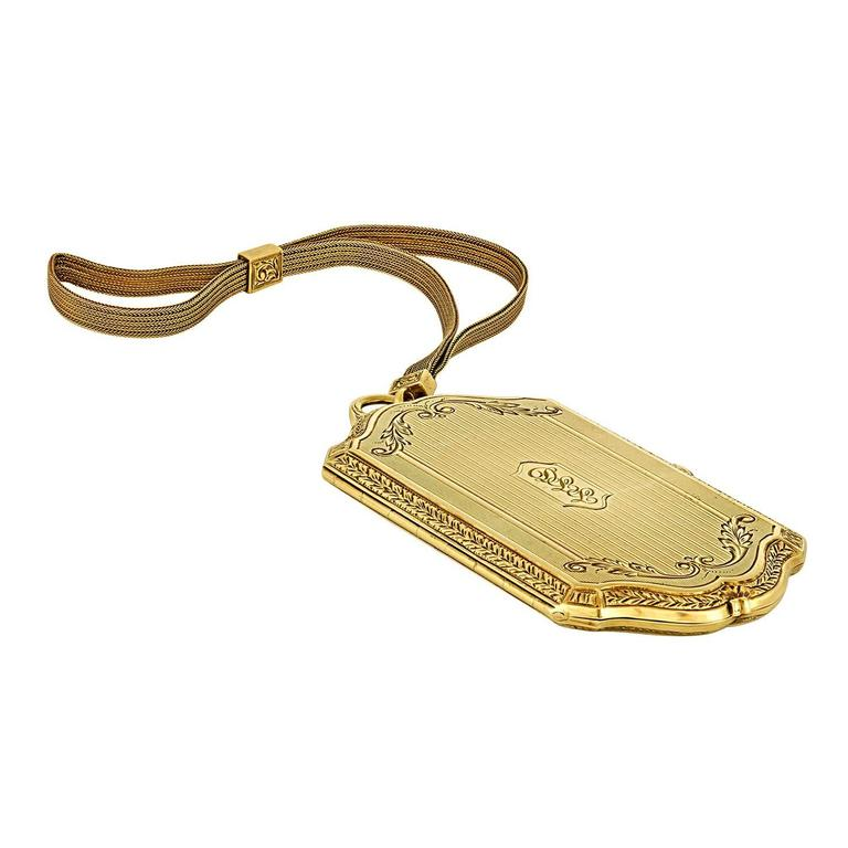 Schanfein & Tamis Art Deco Gold Wristlet Compact