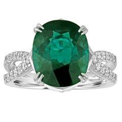Certified 5.97 Carat Oval Natural Tourmaline Diamond Ring