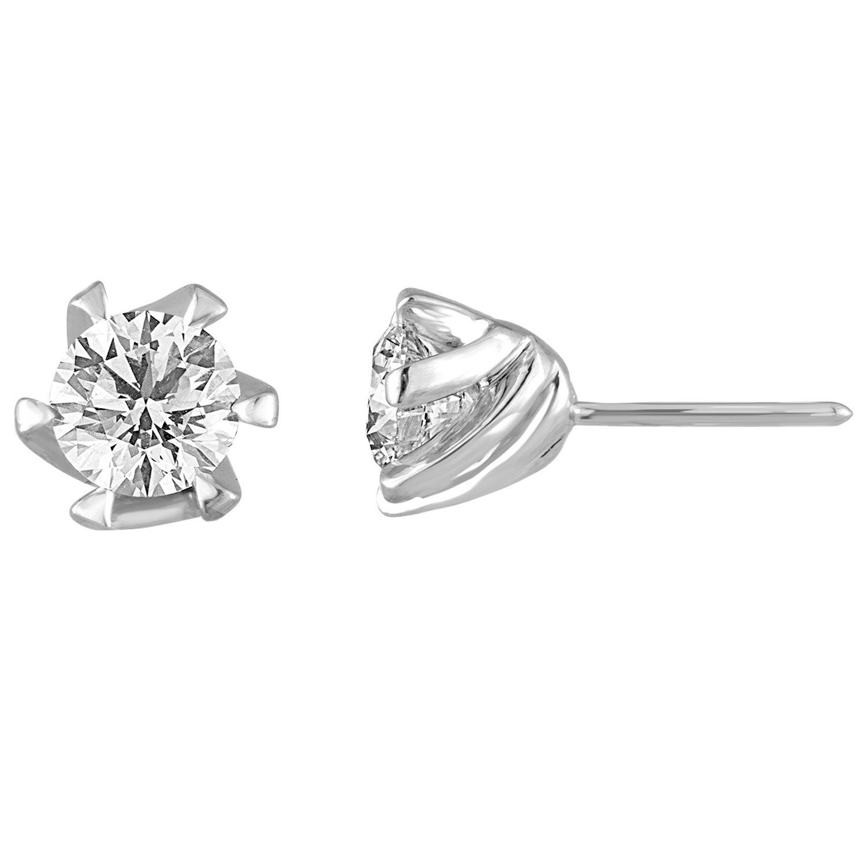 GIA Certified 2.14 Carats J VS2 Round Diamond Gold Studs