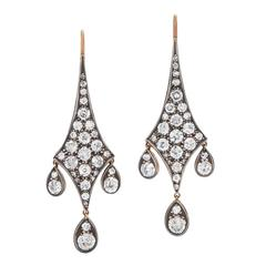 Fred Leighton Old European Cut Diamond Pendant Earrings