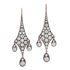 Fred Leighton Old European Cut Diamond Pendant Earrings