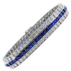 Sapphire Diamond Platinum Three Row Bracelet