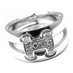 Hermes Diamond H Double Band Flex Gold Band Ring