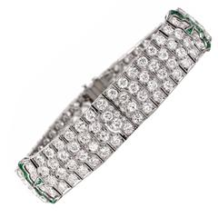 Art Deco Emerald Diamond Platinum Wide Bracelet