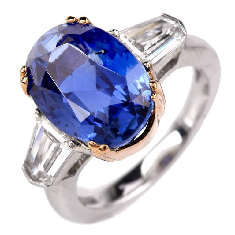 Burma No Heat Natural Sapphire Diamond Platinum Ring For Sale