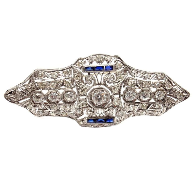 Art Deco Sapphire 3.5 Carat Diamond Platinum Brooch Pin
