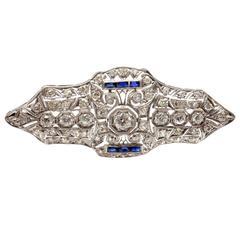 Art Deco Sapphire 3.5 Carat Diamond Platinum Brooch Pin