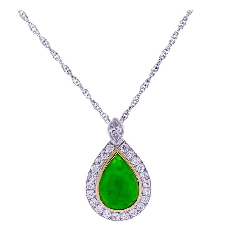 Jade Diamond Gold Platinum Pendant