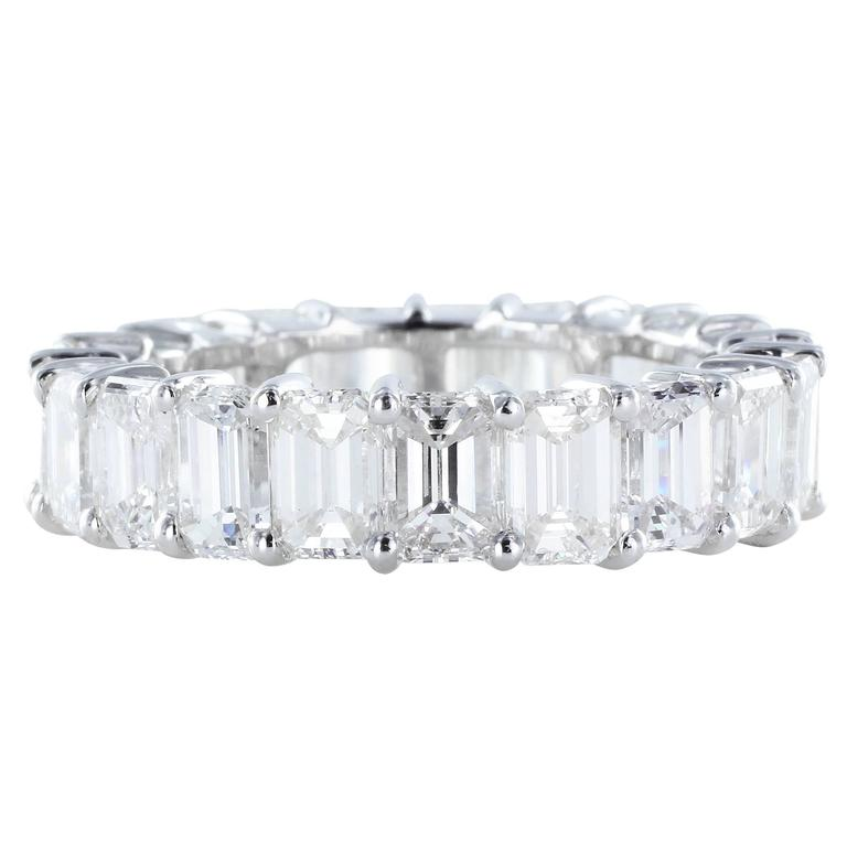 6.60 Carats Emerald Cut Diamonds Platinum Eternity Band Ring
