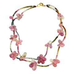 "Double Strand ""Butterflies"" of Red/Pink Sapphires on Sapphire Choker Necklace"