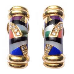 Asch Grossbardt Inlaid Stone Diamond Gold Earrings