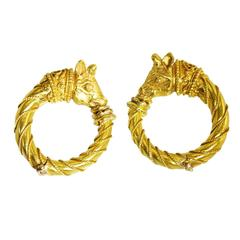 Zolotas Bull's Head Gold Hoop Earrings