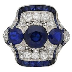 1935 Art Deco Sapphire Diamond Platinum Ring