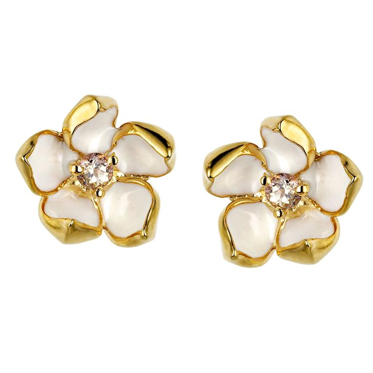 Shaun Leane Cherry Blossom Studs in Gold Vermeil with Diamond and Ivory Enamel