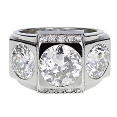 1930s Modernist Boucheron Paris Diamond Platinum Three Stone Ring
