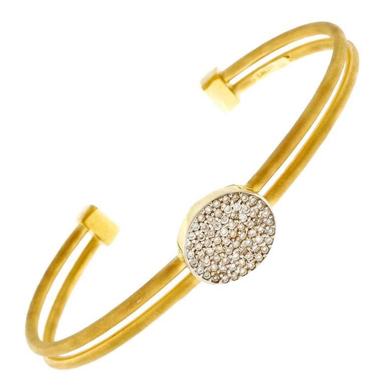 Isaac Reiss Diamond Gold Two Row Slip On Bangle Bracelet